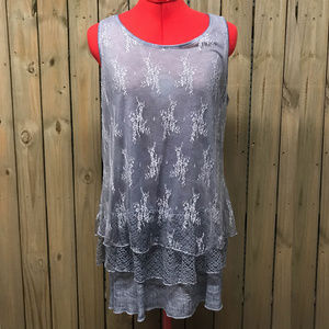 Simply Couture lace tunic top Sz M Grey/Blue NWT